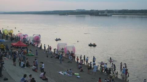 Evening Swim in Amur River (Heilongjiang) Stock Video Footage