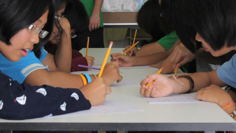 Asian Students Practising Writing English Footage