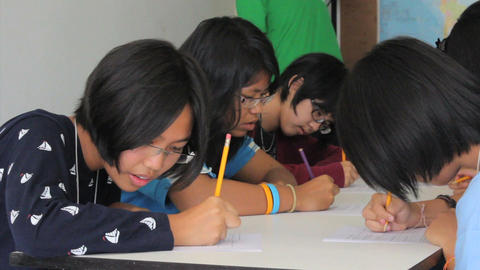 Asian Students Writing English Exam Footage