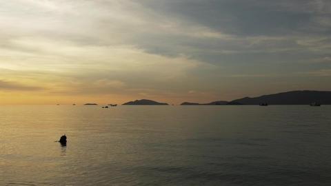 Romantic Snorklers in Ocean at Sunset Footage