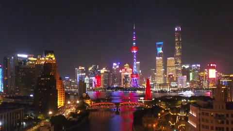 Aerial view of Shanghai Downtown, China. Financial district and business centers in smart city in Live Action