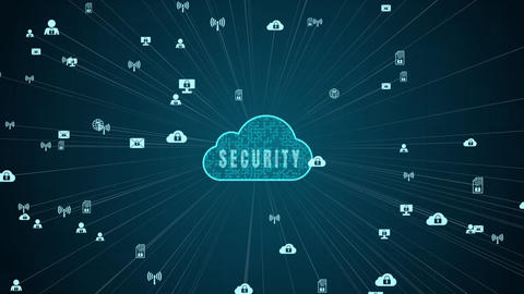 Secure Data Network Digital Cloud Computing Cyber Security Concept Animation