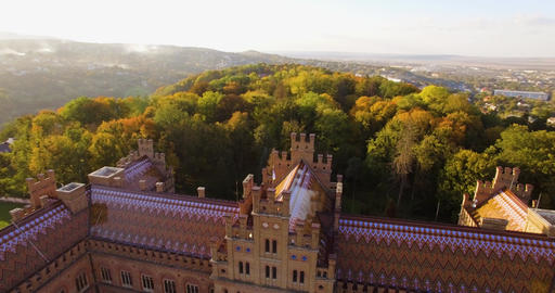 Aerial view of Chernivtsi University in 4k res. - one of the oldest universities Live Action