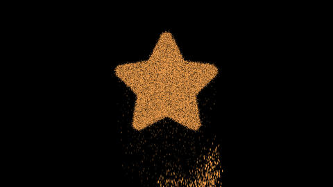 Symbol star appears from crumbling sand. Then crumbles down. Alpha channel Premultiplied - Matted Animation