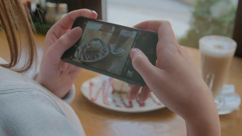 Woman Hands Taking Photos Of Food By Smartphone. Closeup. 4K GIF