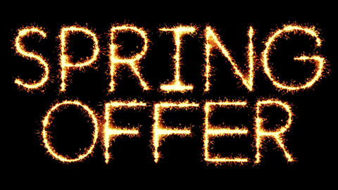Spring Offer Text Sparkler Glitter Sparks Firework Loop Animation Live Action