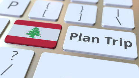 PLAN TRIP text and flag of Lebanon on the computer keyboard, travel related 3D Footage