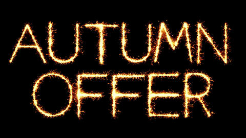 Autumn Offer Text Sparkler Glitter Sparks Firework Loop Animation Live Action