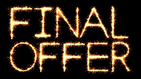 Final Offer Text Sparkler Glitter Sparks Firework Loop Animation Footage