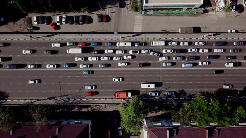 Drone's Eye View - Birds eye view of urban traffic jam Footage