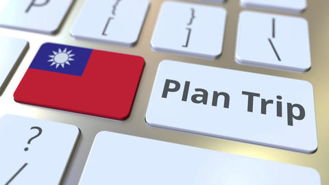 PLAN TRIP text and flag of Taiwan on the computer keyboard, travel related 3D Footage