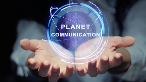 Hands show round hologram Planet communication Footage