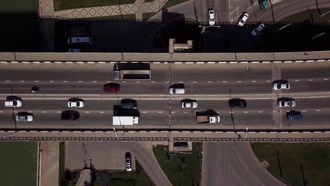 Drone's Eye View - 4K car aerial view of urban traffic jam on a car bridge Footage