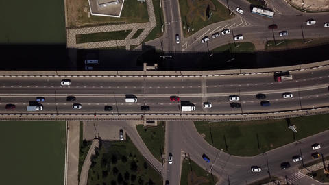 Drone's Eye View - 4K car bird eye view of urban traffic jam on a car bridge Live Action
