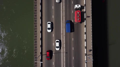 Drone's Eye View - 4K top view road traffic jam on a car bridge Footage