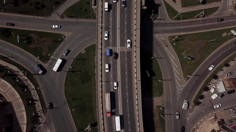 Drone's Eye View - 4K Aerial top down view of urban traffic jam on a car bridge Live影片