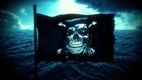 Blue Jolly Roger Pirate Ship Flag Intro Logo Motion Background Videos animados