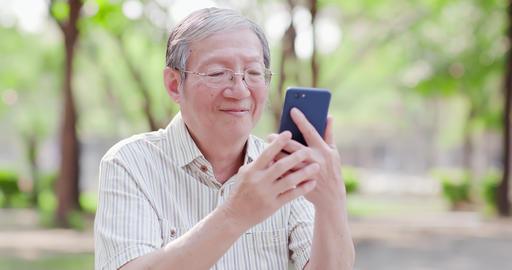 Older man selfie by cellphone Footage