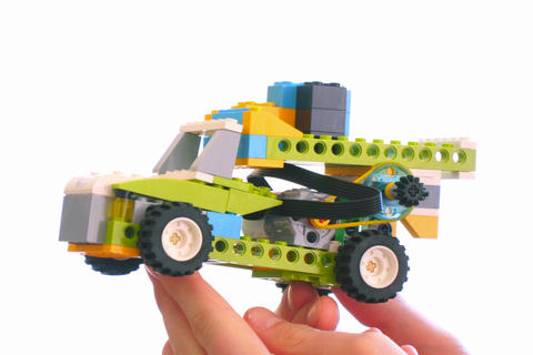 Lego car model on white background Photo