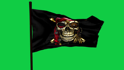 Jolly Roger Pirate Ship Flag Graphic Element Green Screen Videos animados