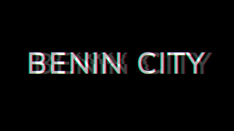 From the Glitch effect arises Big city BENIN CITY. Then the TV turns off. Alpha channel Animation