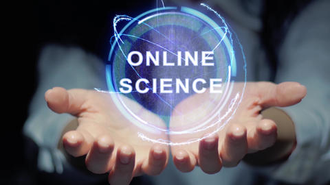 Hands show round hologram Online science Footage
