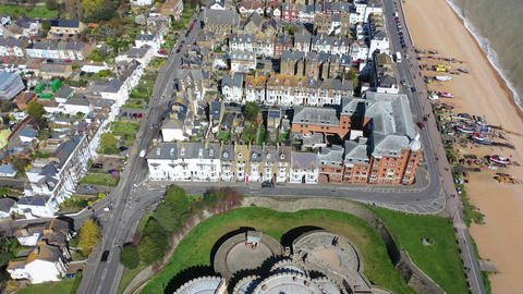 Aerial view of Deal castle, Deal, Kent, UK Live Action