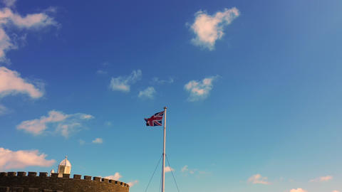 Union Jack above Deal castle, Deal, Kent, UK Live Action