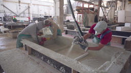 Production of concrete products. Concrete watered. Production of concrete Live Action