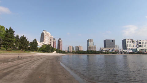 Japan's tourist destination. Blue sky in Odaiba Seaside Park, Tokyo Footage
