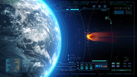 Futuristic HUD Meteorite is going to hit the world Stock Video Footage