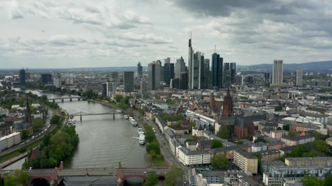 Aerial shot of Frankfurt am Main skyline and the River Main. Germany Live Action