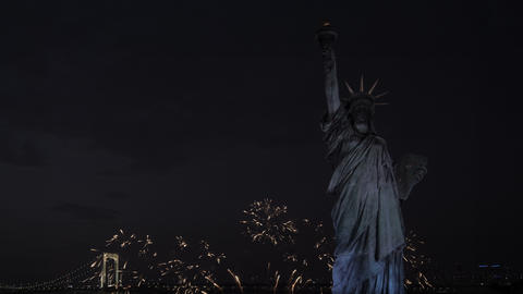 Statue of Liberty at night with fireworks Footage