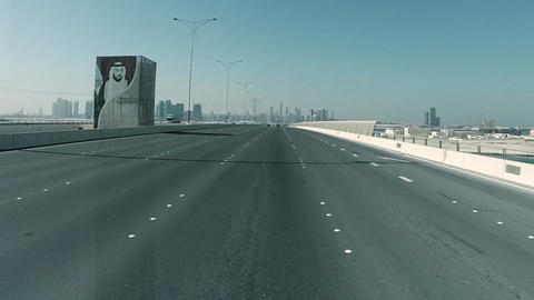 Driving On A HighWay In Abu Dhabi, UAE Archivo
