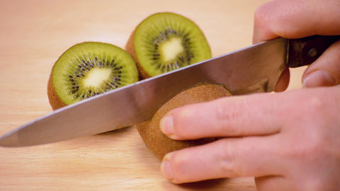 Kiwi Cut In Half Close Up Stock Video Footage