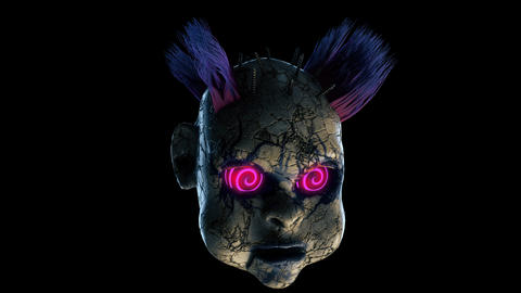 Abandoned Punk Doll Head VJ Loop GIF
