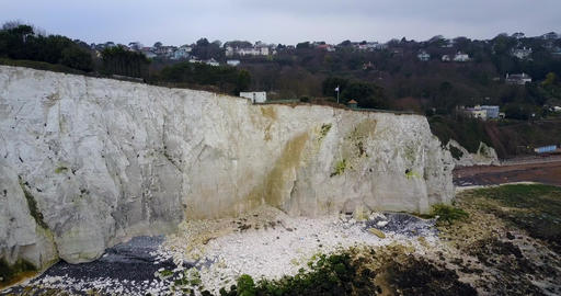 Panoramic 4K view of White Cliffs of Dover and the beach Live Action