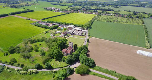 Aerial view of and old English St Mary Magdalene Church, Stockbury Parish, near Footage