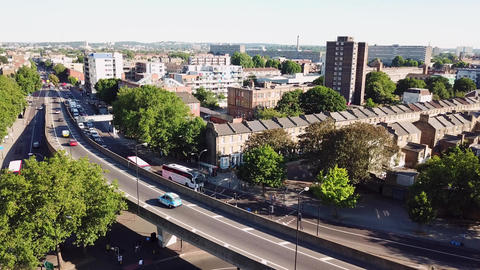 Aerial view of Bricklayers Arms Roundabout Flyover Bermondsey Tower Bridge Road Footage