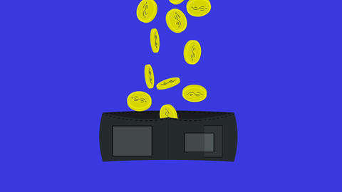 A purse with gold coins Animation