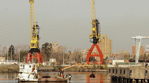 Industrial Cranes In The Riachuelo River (Buenos Aires, Argentina) Footage