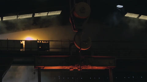 Crane Hook Holding A Steel Bar In The Steel Plant Live Action