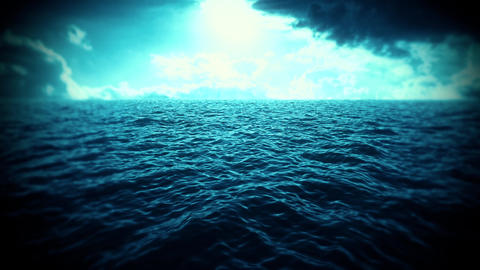 Blue Sea, Sky & Clouds Intro Logo Motion Background GIF