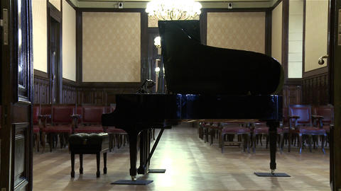 Classical Piano In An Elegant Salon. The Door Opens Footage