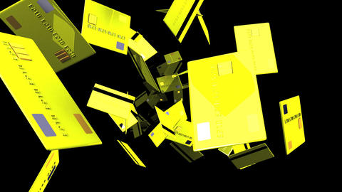 Yellow Credit cards on black background Animation
