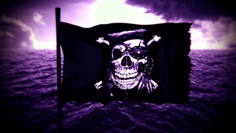 Purple Jolly Roger Pirate Ship Flag Intro Logo Motion Background Animation