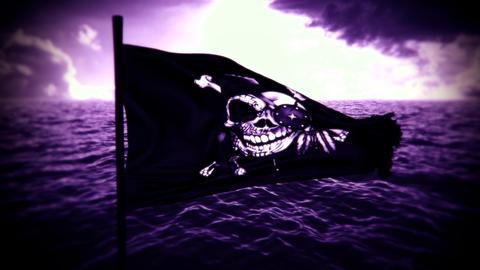 [alt video] Purple Jolly Roger Pirate Ship Flag Intro Logo Motion...