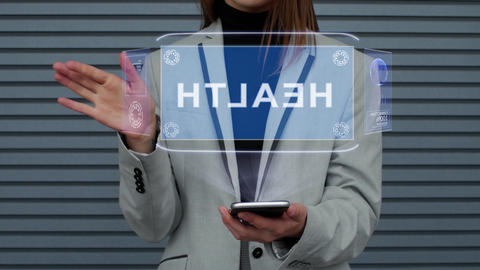 Business woman interacts HUD hologram Health Live Action