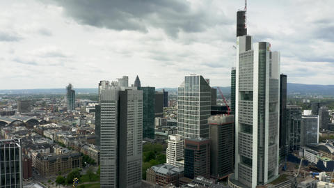 FRANKFURT AM MAIN, GERMANY - APRIL 29, 2019. Aerial view of skyscrapers in city GIF