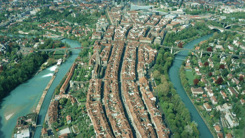 Aerial view of historic part of Bern in Switzerland Footage
